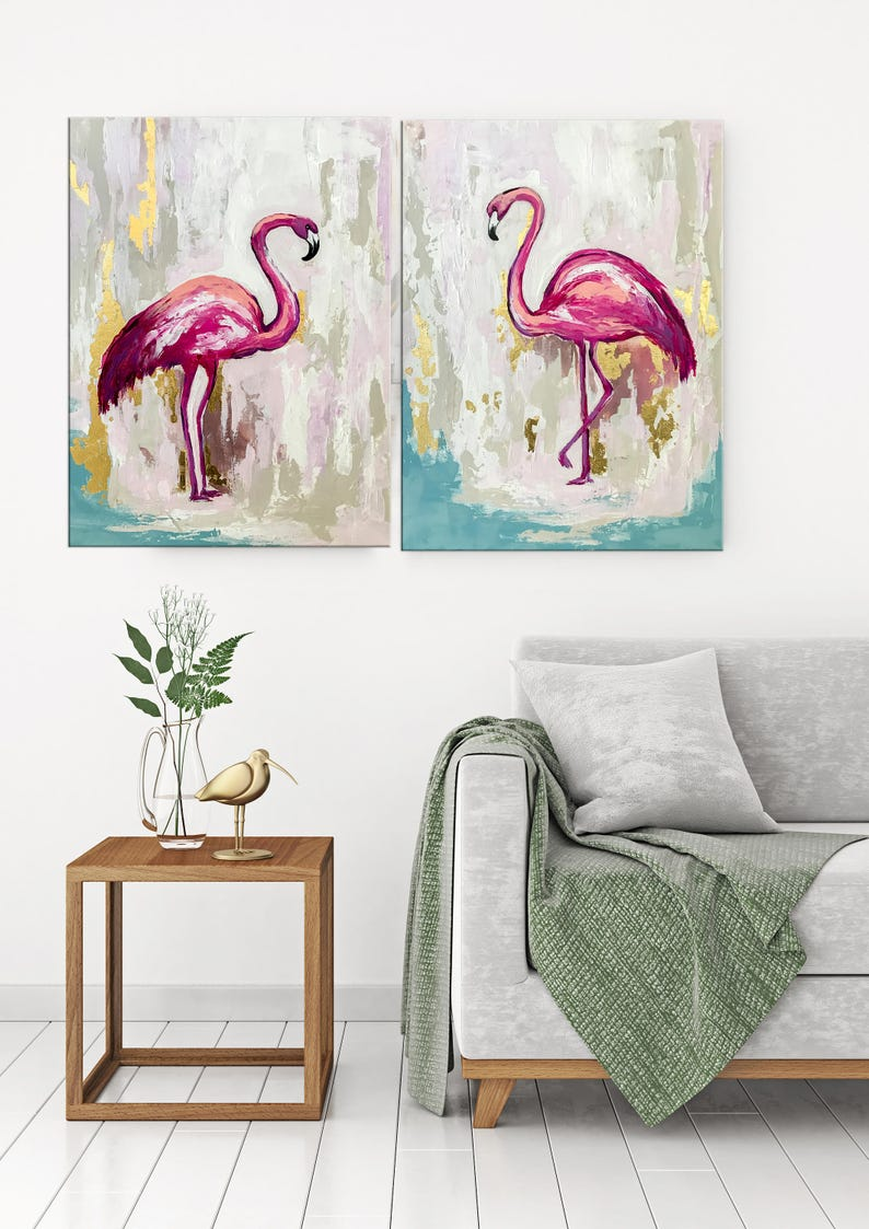 Flamingo Kunst Vogel Malerei Kinderzimmer Kunst Flamingo | Etsy