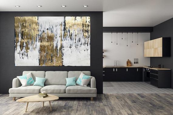 Woonkamer Met Kunst : Bladgoud abstracte gouden muur kunst grote abstracte etsy