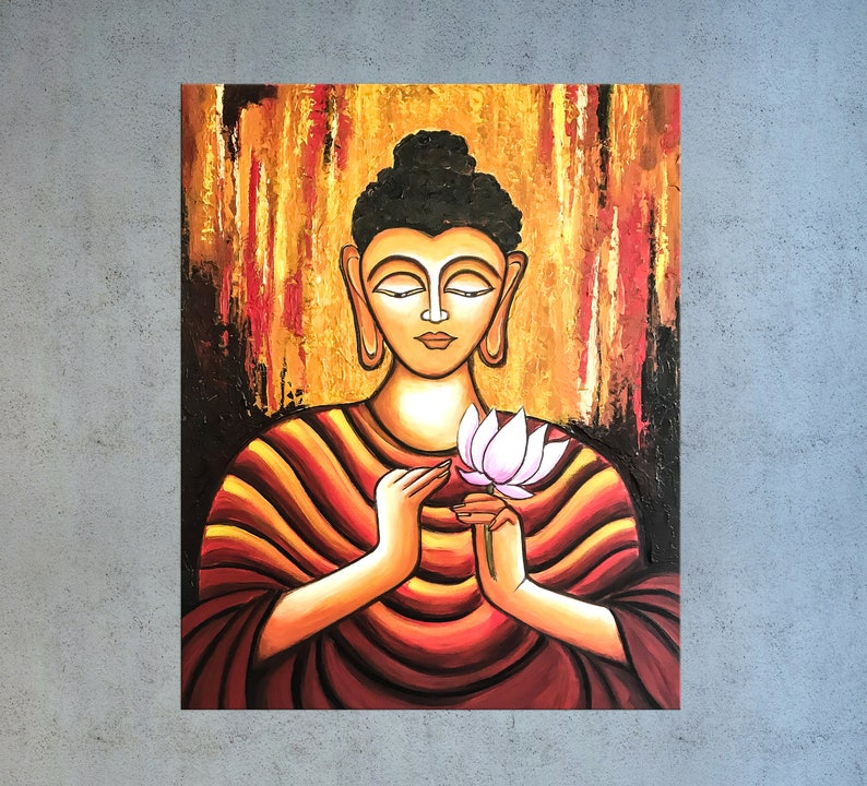 Buddha Wall Art Zen Art Spiritual Art Buddhism Asian Decor Indian Art Yoga Art Painting On Canvas Buddha Decor Buddha Painting