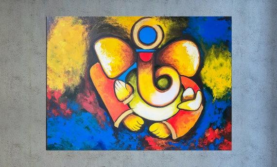 Ganesha wall art Indian decor Modern Indian art Abstract