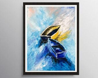 Boat Print, Sailboat Painting, Seascape art, Sailing boat art, Coastal wall art, Tropical decor, Sailboat print, Art print, Boat painting