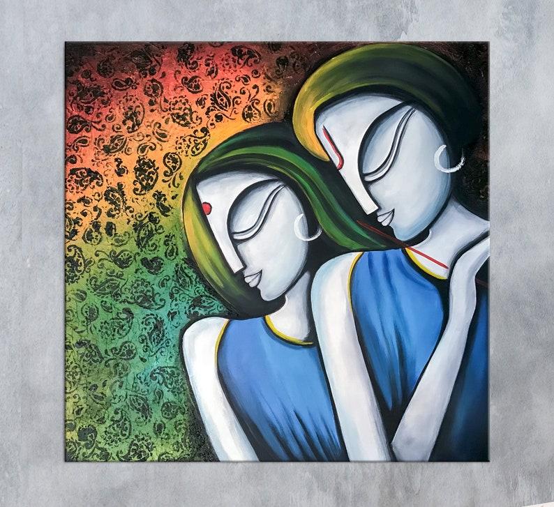 Modern Indian Art Indian Painting Radha Krishna Indian Decor Couple Painting Hindu Wall Art Hindu Decor Asian Art Modern India Art
