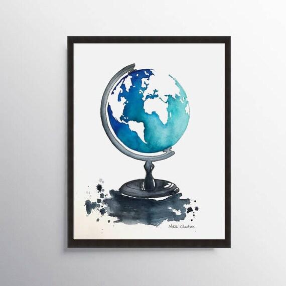 Globe Art World Map Painting Kids Room Decor Map Art Print Office Decor Travel Art Globe Map Map Gift Kids Nursery Art Nursery Gift