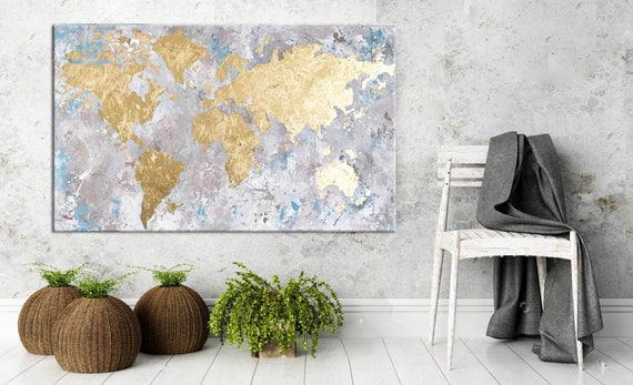 World map canvas gold leaf art gold leaf painting painting gumiabroncs