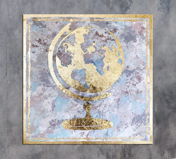 Globe gold leaf art world globe art world map canvas map gumiabroncs Choice Image