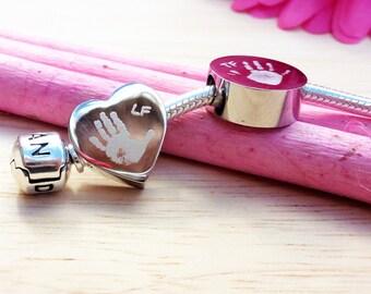 a67085b9b Personalised Handprint or Footprint Engraved Charm Bead Choose Circle or  Heart Charm