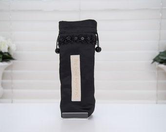 Elegant Black Satin Satin with black daisy trim detail umbrella/brolly bag