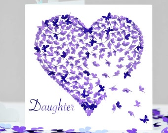 Butterfly Daughter Birthday Card Purple Heart I Love My Mothers Day