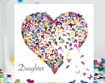 Daughter Card Butterfly Birthday Heart