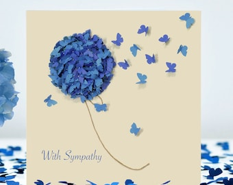 With Sympathy Blue Hydrangea Card, Butterfly With Sympathy Card, Flower With Sympathy card, Hydrangea With Sympathy Card, Love Card
