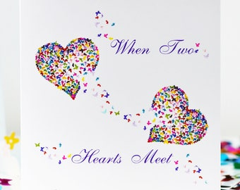 When Two Hearts Meet Card, Romantic Heart Butterfly Card, New Relationship Love Card, Forever Together Card, Missing You Card, Love Card