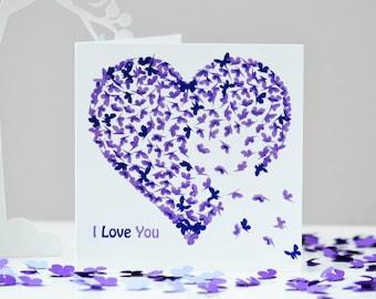 I Love You Card, Butterfly Anniversary Card, Romantic Birthday Card, Purple Heart Card, Partner Card,  Husband Card, Wife Card, Partner Card