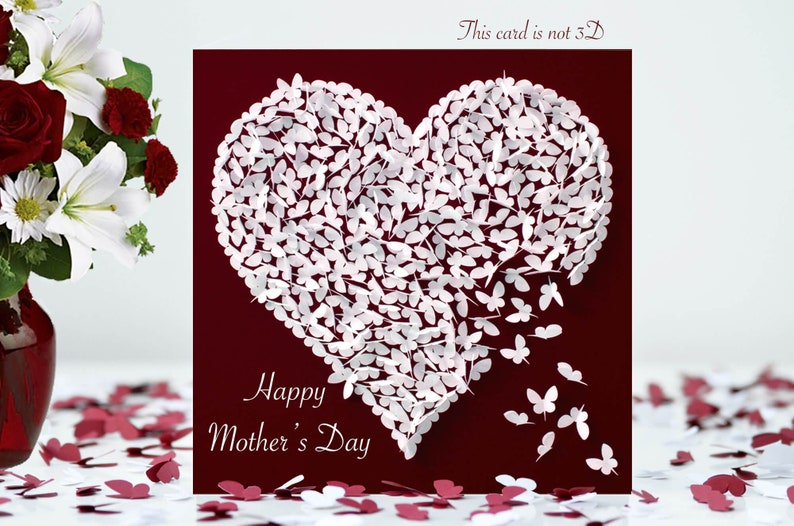 Butterfly Mother's Day Card Heart Happy Mother's Day image 0