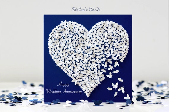 Handmade Personalised Wedding Vow Renewal Card Butterfly Heart
