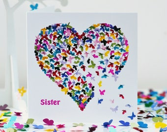 Butterfly Sister Birthday Card, Sister Butterfly Kaleidoscope Card, Sister Butterfly  Card, Sister Heart Card, Sister Thinking of you  Card