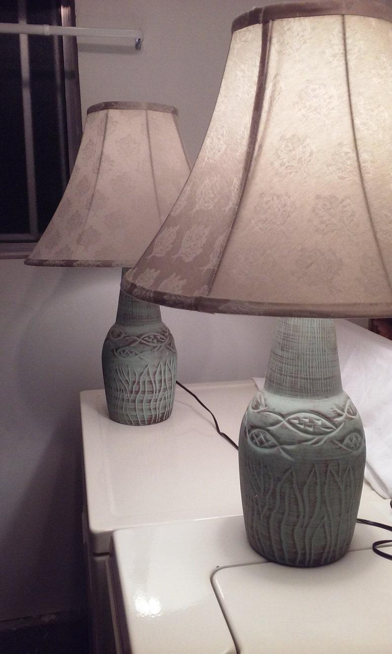 Fabulous 1950 S Art Studio Pottery Fish Design Lamp Set