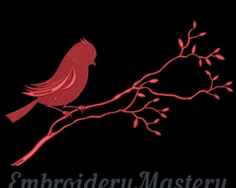 Bird. Embroidery design. Design for embroidery machine. SILHOUETTE BIRD on a branch. Bird embroidery pattern. Instant download