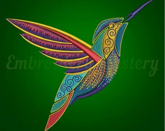 BIRD machine embroidery design - HUMMINGBIRD - Machine embroidery pattern - Summer embroidery design - little bird