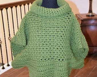 Green Cowl BOHO Crochet Sweater/ Accessory/ Winter wear/ Birthday Gift/ Christmas Gift/ Gift for Her/ Gift for Mom/ Girlfriend