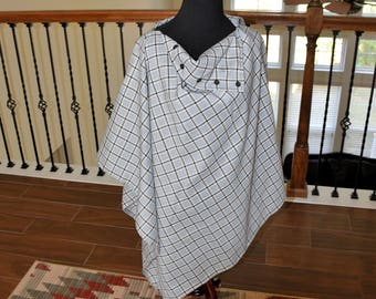 Aqua Plaid Poncho/ Gift for her/ Gift for Mom/ Girlfriend Gift/ Boho/ Bohemian/ Outerwear/ Accessory/ Christmas Gift