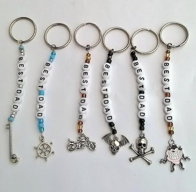 Personalised Handmade Beaded Key Rings Any name Charm Daddy gift