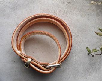 Tan Leather Belt.  Light tan dye leather belt 1inch.  Brass buckle