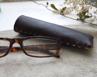 65b7e71528bb Dark brown leather glasses case. Reading glasses case. Glasses case