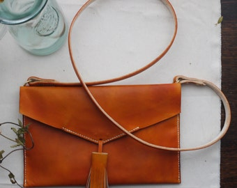 Tan tassel leather cross body handbag. leather bag.  Handmade in England.