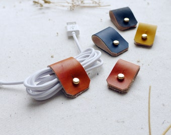 Leather Cable tidies, Set of two leather cable ties.