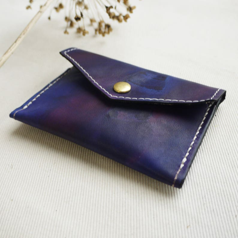 ec77dd54 Leather purse. Hand crafted tie dye leather coin and card purse with stitch  detail - purple. Colour variations available. Made in England