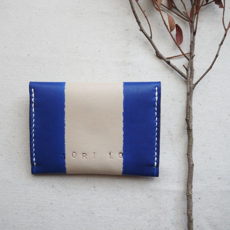 3 compartments Blue leather purse striped leather coin purse Handmade in England