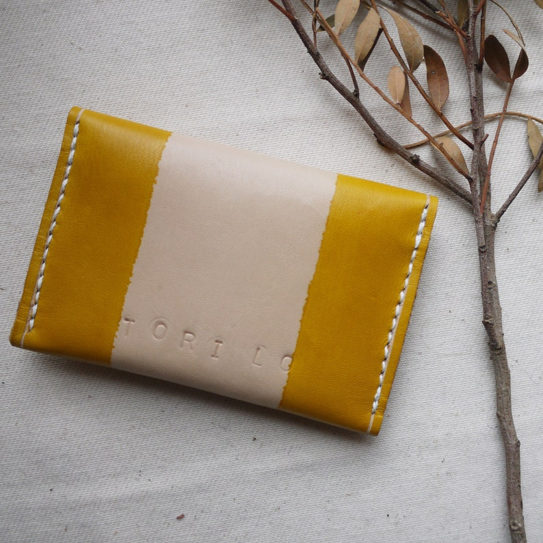 Yellow striped leather purse Handmade in England 3 compartments
