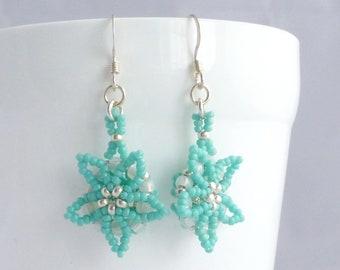 Turquoise Flower Earrings, Seed Bead Jewellery, Beaded Earrings, Gift for Her, Bright Jewelry, Delicate Earrings, Flower Power