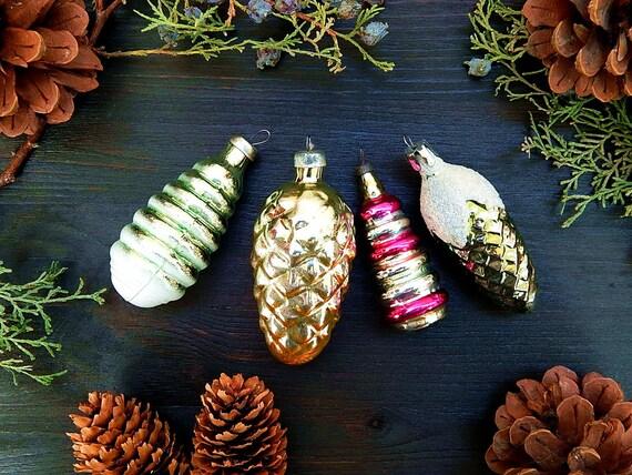 Pine Cones Christmas Ornament Set ~ Set//4