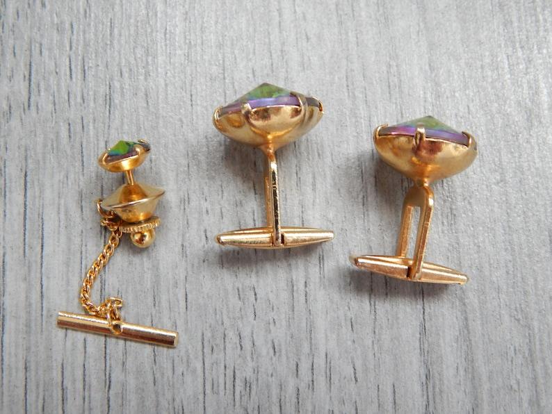 Soviet Cufflinks tie decoration Gold Cufflinks green crystal cufflinks gay wedding groom cufflinks iridescent jewelry anniversary gift men