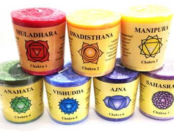 Set of 7 Aromatherapy Essential oils Chakra Candles