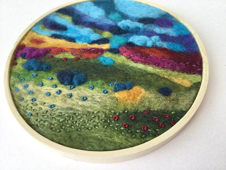 Unique Needle felted wool painting Wool anniversary gift image 0