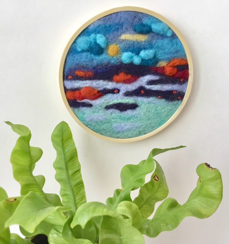 Sea landscape Unique Needle felted wool painting Wool image 0
