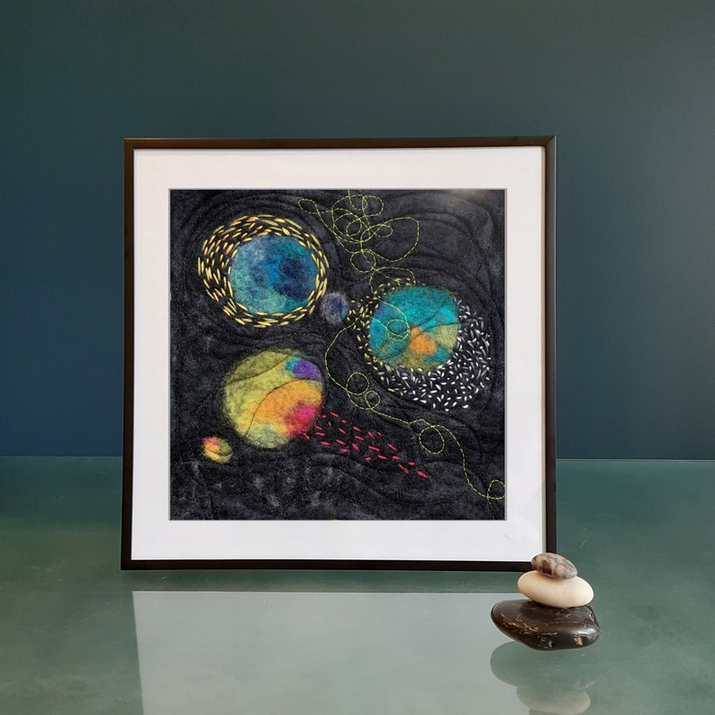 NEW Contemporary felted wool painting Original gift Felt image 0