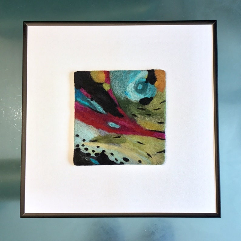 Felted  wool painting Original gift Felt painting wall image 0