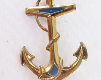 Terrific Art Deco Coldpainted Anchor Brooch