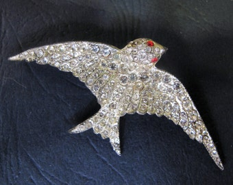Sweet Art Deco Clear Diamente Bird Brooch
