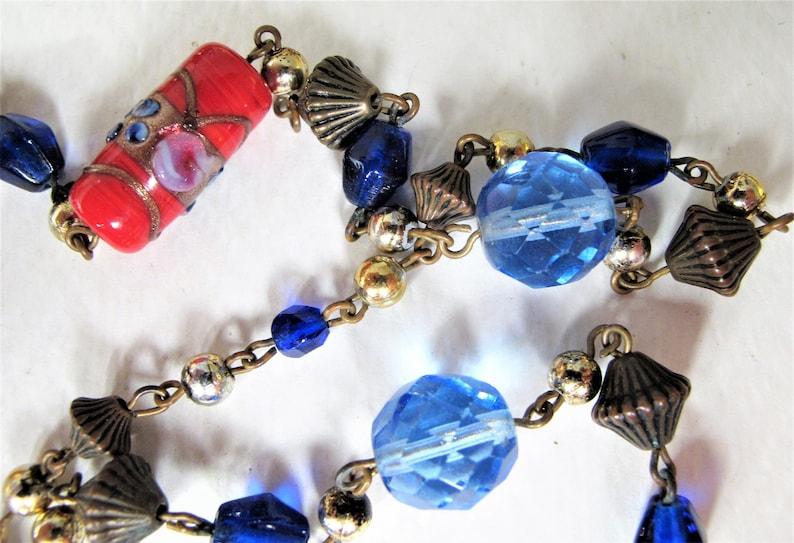 Just Gorgeous Vintage Venetian Glass Bead and Crystal Neckkace