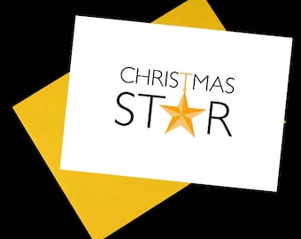 Pack of 5 Christmas Star Cards