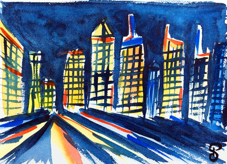 Original watercolor Manhattan skyline New York City image 0