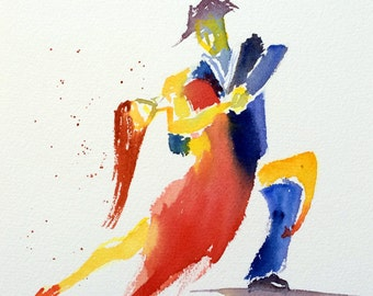 Watercolor, Tango, dance, original painting, dancers, art, painting Tango #4
