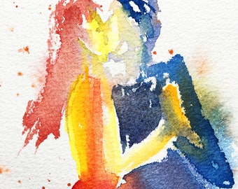 Original Watercolor, Tango, dance, original painting, watercolor painting, dancers, art, painting Tango #2