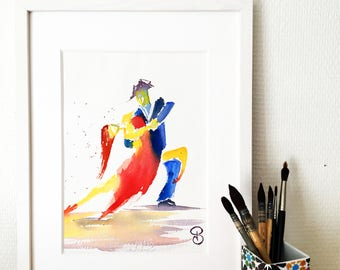 Printing, Tango, dance, painting, watercolor, dancers, art, art print, painting Tango #4