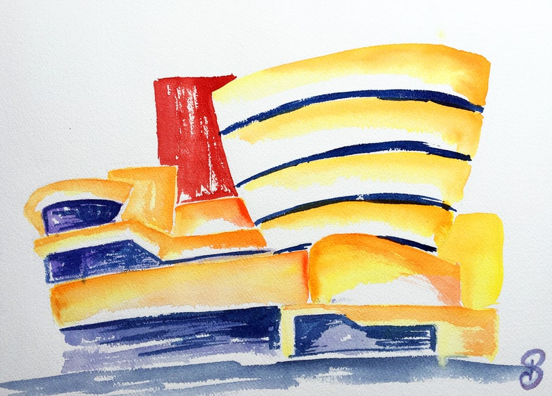 Original watercolor Guggenheim museum New York City image 0