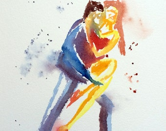 Printing, Tango, dance, painting, watercolor, dancers, art, art print, painting Tango #3